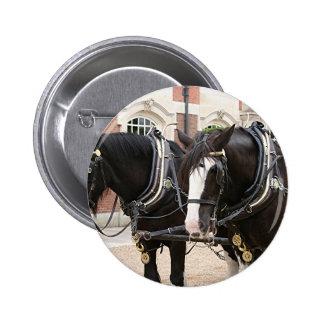 Carriage draft horses 6 cm round badge