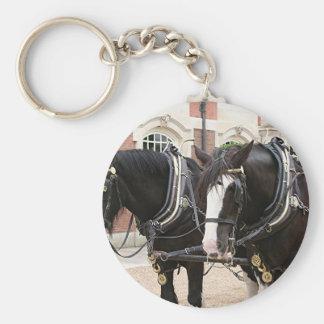 Carriage draft horses basic round button key ring