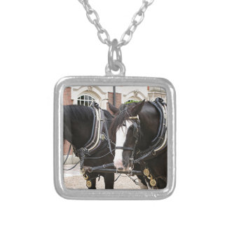 Carriage draft horses square pendant necklace