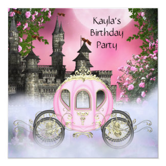 Carriage Pink Roses Princess Birthday Party Personalized Announcement
