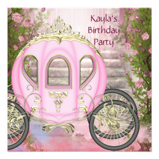 Carriage Pink Roses Princess Birthday Party Invitations