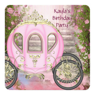 """Carriage Pink Roses Princess Birthday Party 5.25"""" Square Invitation Card"""