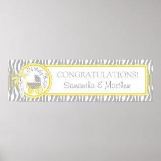 Carriage Zebra Print Yellow Baby Shower Banner