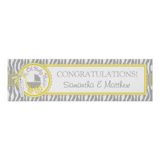 Carriage, Zebra Print, Yellow Baby Shower Banner