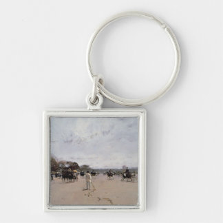 Carriages on the Champs Elysees Silver-Colored Square Key Ring