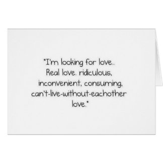 "Carrie Bradshaw: ""I'm looking for love"" Card"