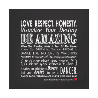 Carrie's Inspirational Dance Quotes 24x24 Canvas