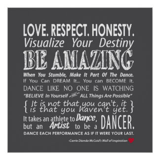 Carrie's Wall of Inspirational Dance Quotes- Grey Poster