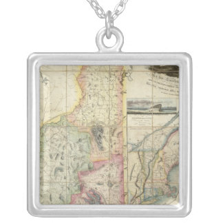 Carrigain Map of New Hampshire Silver Plated Necklace
