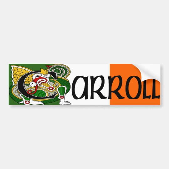 Carroll Dragon Irish Flag Bumper Sticker