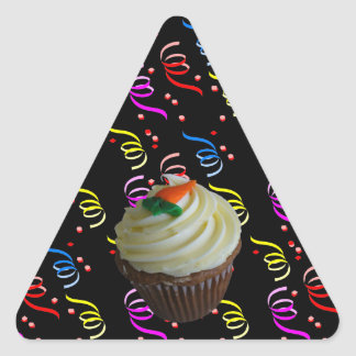 Carrot Cake Cupcake with Confetti Triangle Sticker
