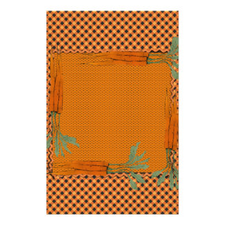 Carrot Frame, Gingham Pattern, Dots Stationery