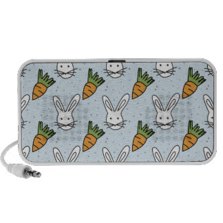 Carrots and Bunny Pattern On A Blue Background Mp3 Speaker