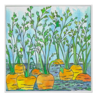 Carrots Watercolor Painting Vegetable Garden Poster