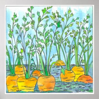 Carrots Watercolor Painting Vegetable Garden Poster