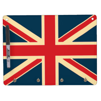 Carry-key and pencil (horizontal) Flag the U.K. Dry Erase Board With Key Ring Holder
