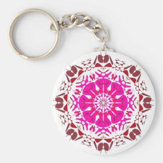 Carry key Kaleïdoscope Fuschia on white Basic Round Button Key Ring