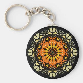 Carry key Orange Kaleïdoscope on black Basic Round Button Key Ring