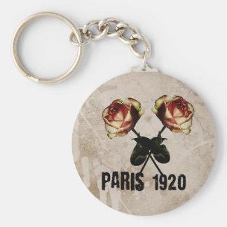 Carry key Paris 1920 Vintage Basic Round Button Key Ring