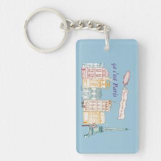 carry-key Paris Eiffel Tower Single-Sided Rectangular Acrylic Key Ring