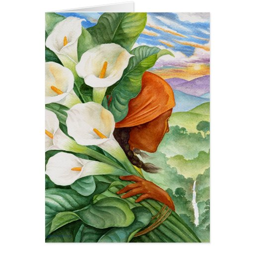 Carrying Calla Lilies Greeting Card
