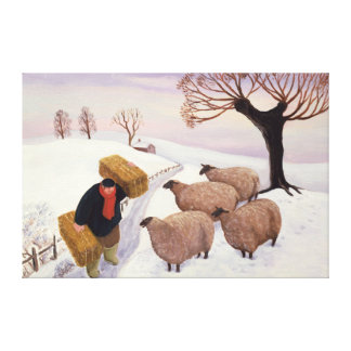 Carrying Hay to the Sheep in Winter Canvas Print