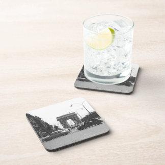 Cars & Arch Black & White Hard Plastic Coasters