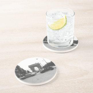 Cars & Arch Black & White Sandstone Drink Coaster