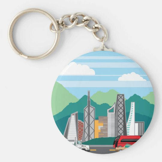 Cars city landscape basic round button key ring