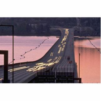 Cars Crossing A Bridge Standing Photo Sculpture