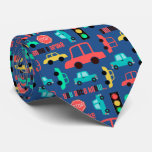 Cars in Traffic Blue Double Tie
