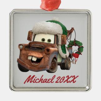 Cars   Mater In Winter Gear Silver-Colored Square Decoration