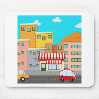 Cars on road in the city mouse pad