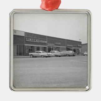 Cars on shopping centre parking B&W Silver-Colored Square Decoration