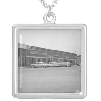 Cars on shopping centre parking B&W Silver Plated Necklace
