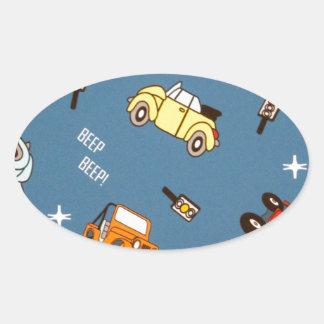 cars oval sticker