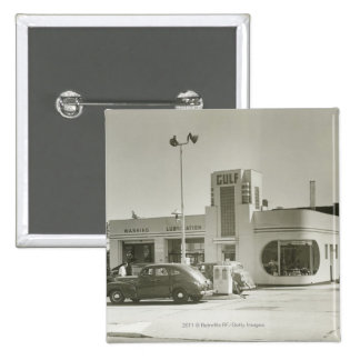 Cars parked at gas station 15 cm square badge