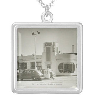 Cars parked at gas station silver plated necklace