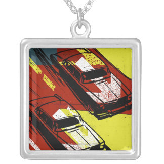 Cars Racing Silver Plated Necklace