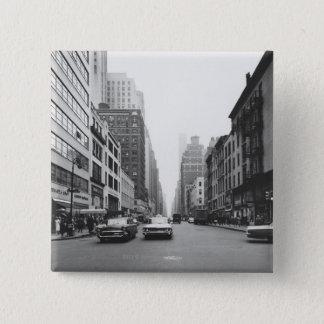 Cars riding on city street B&W 15 Cm Square Badge
