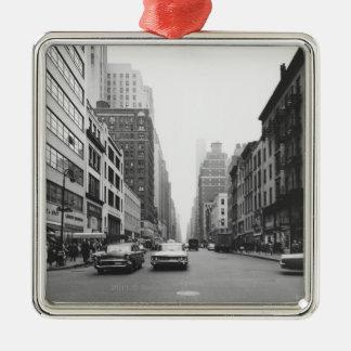 Cars riding on city street B&W Christmas Ornament