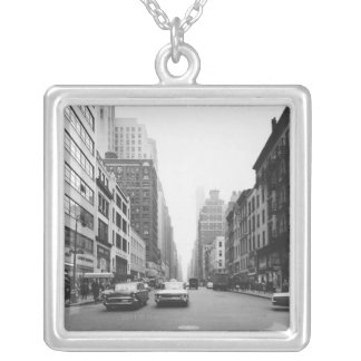 Cars riding on city street B&W Silver Plated Necklace