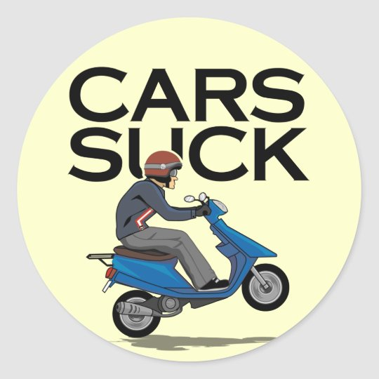 Cars suck scooter classic round sticker