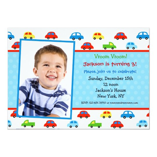 Cars Truck Photo Birthday Party Invitation boy