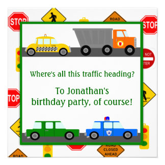 Cars, Trucks and Street Signs Children's Birthday Personalized Announcement