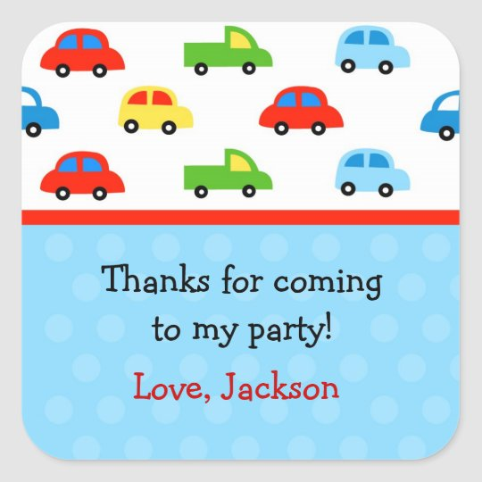 Cars Trucks Birthday Party Favour Stickers labels