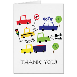 Cars & Trucks Boys Baby Shower Thank You Note Card