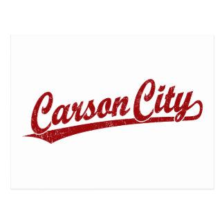 Carson City script logo in red Postcard