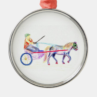Cart horse in colored crayon pastel, pony sulky christmas ornament