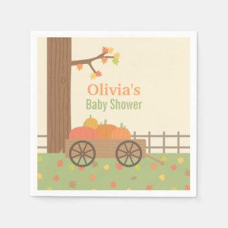 Cart of Pumpkins Fall Theme Baby Shower Supplies Paper Napkin